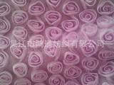绣花网布  涤纶网布绣玫瑰花