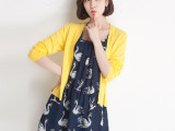 春装新款女 假两件套针织衫小外套雪纺拼接套头中长款连衣裙