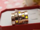 厂家直销钛钢钉情侣款宽版戒指玫瑰金戒指情侣戒指5.5MM