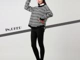 厂家直销2015新款春装简约修身时尚黑白条纹套头毛衣女装一件代发