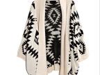 初秋新品毛衣 休闲宽松外套几何图案宽松针织开衫毛衣外套女