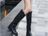 批发秋冬新品黑色骑士靴女靴子雪地靴女鞋子简约平底平跟高筒靴