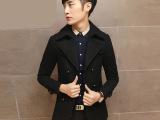 男士风衣大衣毛呢外套 秋装新款韩版修身时尚中长款潮男休闲大衣