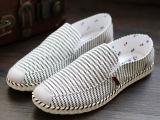 老北京帆布鞋条纹时尚休闲男帆布鞋 韩版透气懒人鞋一脚蹬男鞋