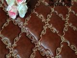 硬包刺绣绣花皮革装饰皮革移门衣柜门床头电视背景墙软包皮革面料