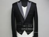 厂家直销特批韩版修身高腰短款两扣经典拼色设计男士小西装
