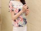 2014夏装新款艳丽包身上衣 女 韩版修身雪纺衫蕾丝小杉