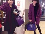 欧洲站左岸潇同款紫罗兰木耳边荷叶袖毛衣中长款针织开衫女装批发