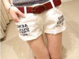 2014夏装新款 韩版女装牛仔裤 大码时尚百搭白色牛仔短裤