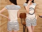 纯棉格子套装女2014夏装新款韩版修身短衣短裤显瘦女套装