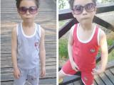 童装批发厂家直销 2014夏装儿童纯棉背心套装 男童女童宝宝两件套