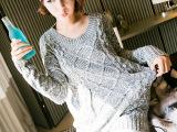 2014杉杉来了同款秋装新款毛衣女 圆领套头浅灰色粗线韩版毛衫女