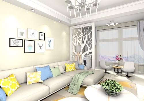 客厅:从客厅望去,纯净的色彩让家人心情愉悦,简约的吊灯,清新的窗帘,就像清晨的阳关温暖而舒心,沙发抱枕俏皮的色彩点缀,大而开阔,自然清新,整个空间洋溢着让人舒心的气息。.jpg