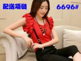 韩版时尚休闲显瘦两件套装短袖雪纺衫上衣+背带七分裤子潮女