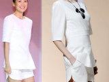 2014春季新款章子怡明星同款夏装修身套装短袖短裤套装一件代发
