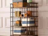 美式铁艺做旧置物架 落地实木收纳架 客厅