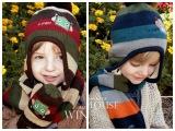 新款 冬季 卡通机器人 儿童加绒帽子围巾两件套
