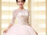 批发供应2015新款新娘婚纱礼服高档韩式一字肩中袖蕾丝复古婚纱