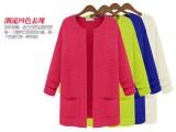 秋装新款 韩版简约气质女装中长款口袋针织开衫宽松大码 外套