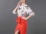 ashleygao2015春夏新款女装蝴蝶结高腰开叉一步裙包臀裙
