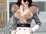 实拍2014冬装新款千鸟格拼接奢华貉子毛领羽绒服女中长款修身加厚