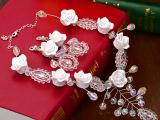 新娘项链水晶花 韩式发饰结婚手工串珠额饰项链婚礼造型饰品月露