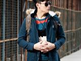 2014年棉衣男装新款秋冬加厚中长款韩版修身男士外套棉服批发