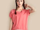 新款短袖灯笼袖T恤宽松纯色圆领亚麻棉短袖女淘宝爆款一件代发