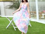 实拍2015夏季新款女 韩版波西米亚连衣裙 蓝雅忆抹胸印花拖地长