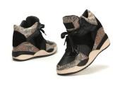 ASH同款正品2013蛇纹拼色内增高透气高帮女鞋系带休闲运动鞋