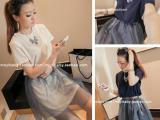 新款女韩版两穿套装纯色长款T恤+网纱短裙两件套746