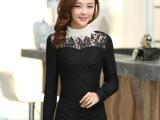 2013秋冬新款韩版女装时尚高领修身加厚绒蕾丝长袖打底衫女式T恤