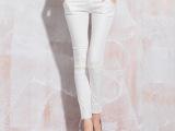 2015夏季新款女装白色女式牛仔裤批发韩版修身小脚裤九分铅笔裤