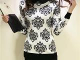 2013冬装新款韩版时尚修身花朵双翻领针织衫套头毛衣羊毛衫外套女