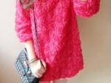 2014时尚田园风七分袖立体玫瑰连衣裙 宽松套头中长款雪纺衫