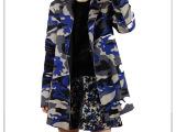 style驿站 欧洲潮牌设计师立体廓形宽松休闲迷彩长西装风衣外套
