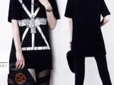 2014夏季女装 欧美新款短袖纯棉t恤 宽松中长款印花T恤打底衫