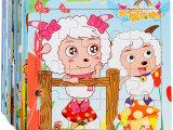 热卖16片卡通动画拼图儿童益智玩具批发木质宝宝拼图玩具一件代发