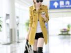 微商免费加盟  秋装新款韩版女式风衣修身显瘦纯色百搭秋季风衣