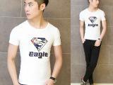 2014夏装新款流行韩版修身印花砖石男士短袖T恤时尚潮男打底衫