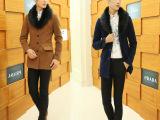 秋冬新款男式修身外套韩版 男 毛毛领时尚潮男毛呢大衣风衣中长款