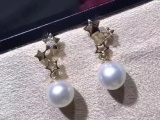 18K金镶钻石天然淡水珍珠耳钉