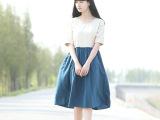14年夏季新款日系森女系宽松棉麻拼色短袖圆领连衣裙 女  318