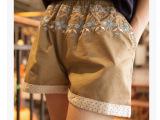 韩国东大门夏季新款民族风MAYA雪花刺绣百搭波点卷边短裤女