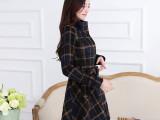 2014欧洲站廓形新款修身长袖单排扣格纹羊毛呢大衣 外套女