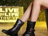 欧洲站2014秋季新款女靴欧美圆头平底短靴中筒女靴子工厂直销