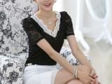 2014夏装新款韩版v领泡泡袖上衣钉珠短袖气质修身蕾丝衫