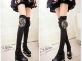 2014秋冬季新款内增高厚底弹力长靴高筒瘦腿过膝靴坡跟平底女靴子
