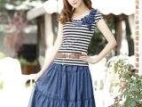2013新款横条纹t恤+牛仔半身裙两件套