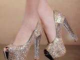 2014欧美性感宴会鞋粗跟厚底防水台超高跟水晶跟鱼嘴单鞋女鞋子